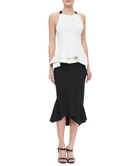 Donna Karan Cross-Back Peplum Top and Asymmetric Trumpet Skirt