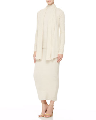 Cashmere Drape-Front Cardigan, Cold-Shoulder Turtleneck & Long Tube Skirt