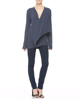 Donna Karan Ribbed Cross-Front Sweater and Second Skin Seamed Pants