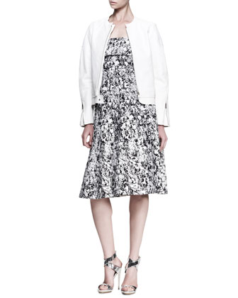 Boxy Collarless Leather Jacket and Fresco Printed Strapless Dress