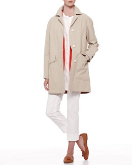Loro Piana Conrad Gabardine Raincoat, Ocean Side Cardigan & Rhenia Striped Tunic