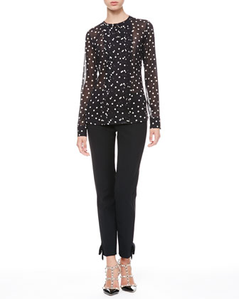 Dotted Pleat-Front Blouse & Tech Cady Bow Ankle Pants