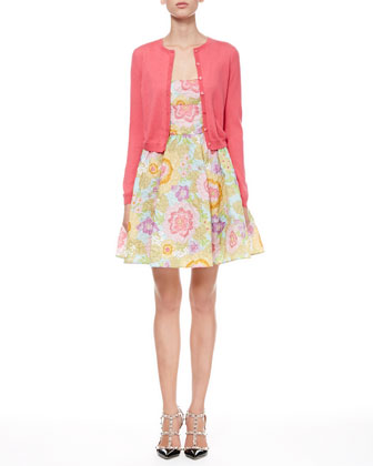 Full Pop-Flower Scoop Dress and Long-Sleeve Cropped Cardigan