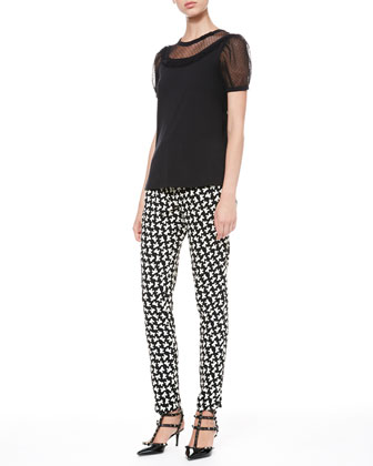 Point D'Esprit-Sleeve Tee and Bow-Print Ankle Pants