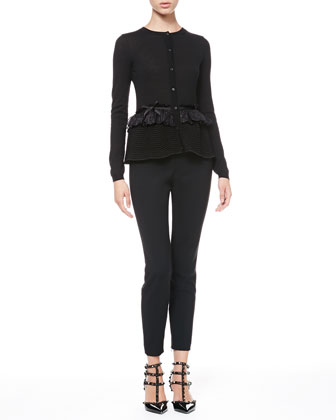 Lace-Waist Peplum Cardigan and Tech Cady Skinny Pants