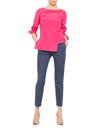 Step-Hem Crepe Tunic and Slim Denim Ankle Pants