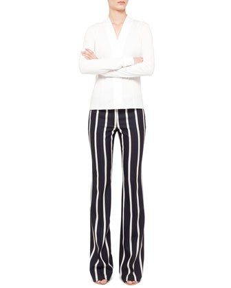 Stretch Shawl-Collar Blouse and Striped Boot-Cut Pants
