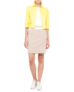 Akris punto Cropped Leather Jacket, Scoop-Back Top & Techno Cotton Skirt