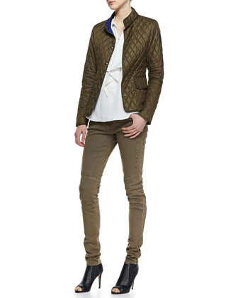 Sheffield New Quilted Jacket, Bingley Drape-Front Blouse & Layton Garment-Dyed Jeans