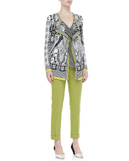 Etro Open Paisley Knit Cardigan, Sleeveless Ruffled Dot-Print Blouse & Cropped Cigarette Pants