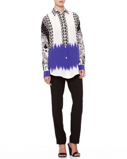 Etro Mix-Print Oversized Blouse & Straight-Leg Cady Pants