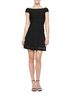 Herve Leger Off-The-Shoulder Bandage Top & Drop-Waist Bandage Skirt