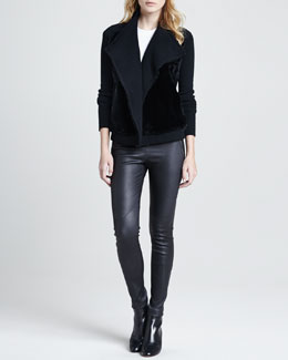 Theory Gwenivere Fur-Front Sweater, Medea Shirttail Knit Tee & Keil Leather Leggings