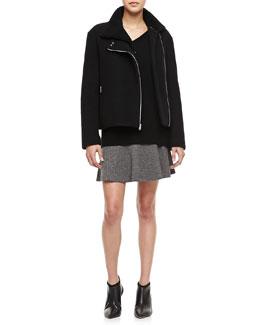 Theory Laylen Amazing Motorcycle Style Coat, Dafna L Loryelle Sweater & Gida K Cityscape Skirt