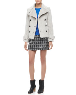 MARC by Marc Jacobs Ramona Fuzzy Pea Coat, Veronica Textured Pullover Sweater & Terence Jacquard Pencil Skirt