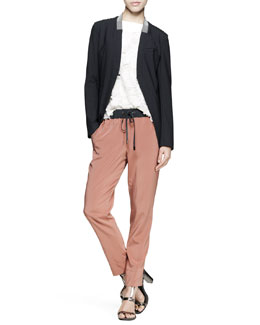 Brunello Cucinelli Monili-Collar Cutaway Jacket, Embroidered Flower Top & Drawstring Silk Pants