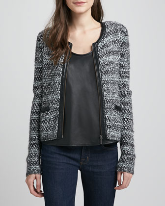 Jacolyn Leather-Trim Tweed Jacket & Rain Sleeveless Leather Tank