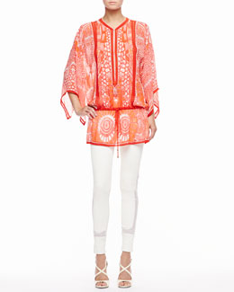 Roberto Cavalli Printed Malika Caftan & Lace-Trim Leather Leggings