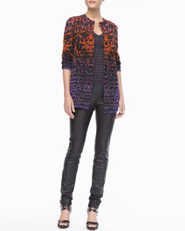 M Missoni Metallic Lizard Jacquard Cardigan, Metallic Striped Tank & Faux-Leather Leggings