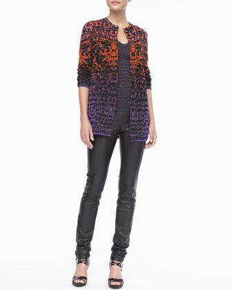 Metallic Lizard Jacquard Cardigan, Metallic Striped Tank & Faux-Leather Leggings
