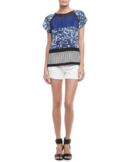 Diane von Furstenberg Quinn Mixed-Print Silk Top & Naples Lace Shorts