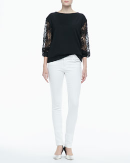 Alice + Olivia Brody Lace-Sleeve Sweatshirt & Five-Pocket Skinny Jeans