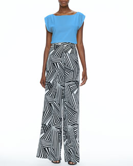 Alice + Olivia Lincoln Boat-Neck Top & Geometric-Print Super-Flare Pants