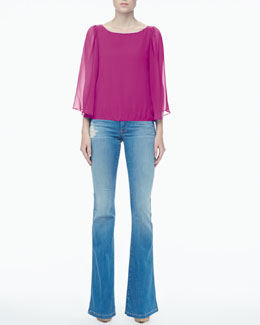 Alice + Olivia Briar Sheer-Sleeve Top & Stacy Distressed Bell-Bottom Jeans