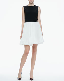 Alice + Olivia Belle Bow-Back Top & Shea Pleated Chiffon Skirt
