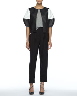 Alice + Olivia Two-Tone Leather Jacket, Short-Sleeve Slub Tee & Anders High-Waist Pants