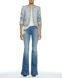 Alice + Olivia Kidman Fringe-Trim Tweed Jacket, Sleeveless Slub Tee & Stacy Distressed Bell-Bottom Jeans