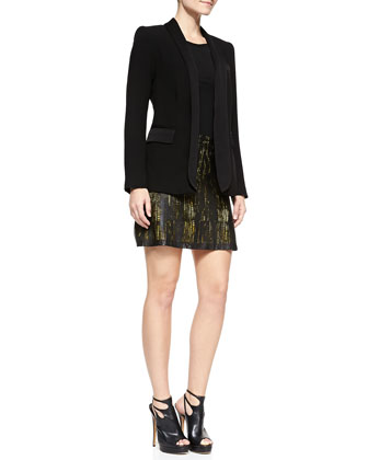 Long Crepe Tuxedo Blazer & Riley Laser-Cut Skirt