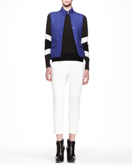 Belstaff Weskit Quilted Tech Vest, Banham Racing Stripe Sweater & Marston Cropped Twill Pants