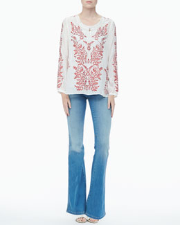 Alice + Olivia Preston Embroidered Voile Top & Stacy Distressed Bell-Bottom Jeans