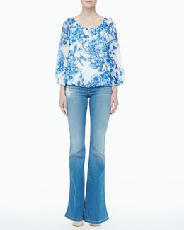 Alice + Olivia Floral-Print Peasant Top & Stacy Distressed Bell-Bottom Jeans