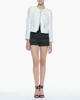 Alice + Olivia Cam Tweed Biker Jacket, Short-Sleeve Slub Tee & Dot-Print Cuffed Shorts