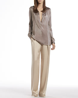 Gucci Metallic Gray Liquid Tunic & Ivory Hammered Silk Relaxed Fit Pants