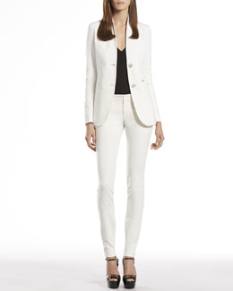 Gucci Stretch Cotton Stand-Up Collar Jacket, Viscose V-Neck Top & Skinny Pants