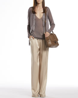 Gucci Metallic Gray Cardigan, Tank Top & Silk Relaxed Fit Pants