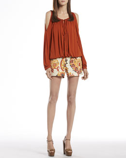 Gucci Jersey Cold Shoulder Top & 5-Pocket Paisley Denim Shorts