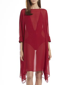 Gucci Light Silk Swim Caftan & Deep V-Neck One-Piece Swim Suit