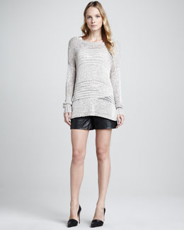 Vince Shadow-Stripe Knit Sweater, Favorite Tank & Lamb Leather Shorts