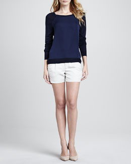Vince Mixed-Media Sweater with Raglan Sleeves & Silk Tipped Waistband Short
