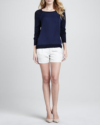 Mixed-Media Sweater with Raglan Sleeves & Silk Tipped Waistband Short