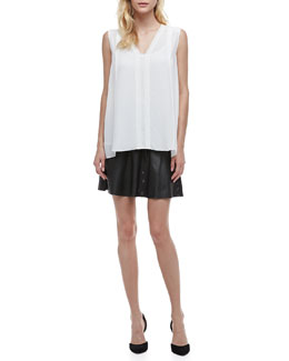 Vince Silk Sleeveless Blouse & Perforated Leather Skirt