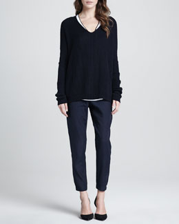 Vince Ribbed V-Neck Sweater, Contrast-Trim Slub Top & Straight-Leg Cuffed Trousers