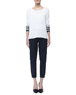 Vince Stripe-Sleeve Slub Sweater & Straight-Leg Cuffed Trousers