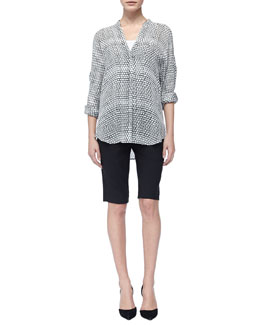 Vince Long-Sleeve Printed Silk Blouse & Tropical Wool Bermuda Shorts