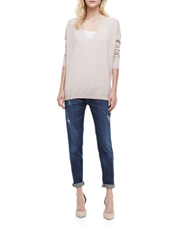 Vince Long-Sleeve Cashmere Sweater & Mason Relaxed Rolled Jeans