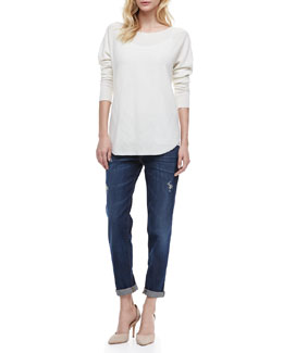 Vince Rack Stitch Long Sleeve Shirt & Mason Relaxed Roll Jeans